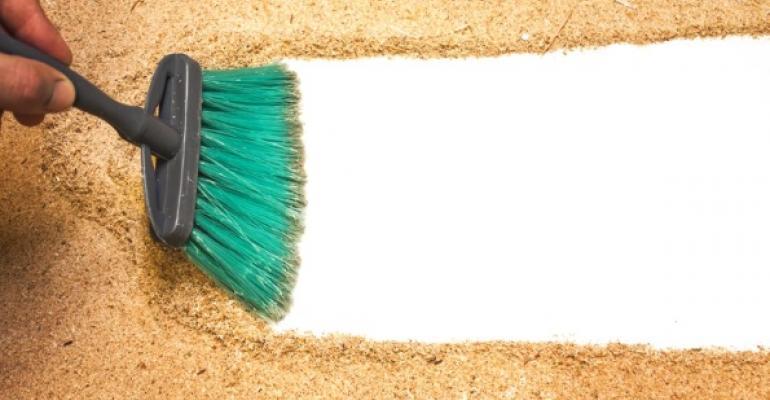 broom sweeping clean