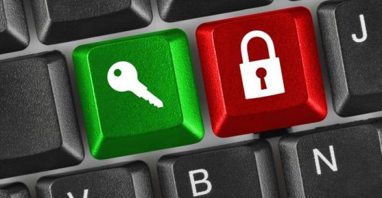 padlock and key icons on keyboard