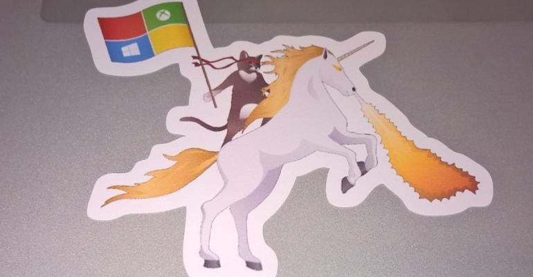 Giveaway: Ninja Cat Riding on a Fire Breathing Unicorn Windows Stickers