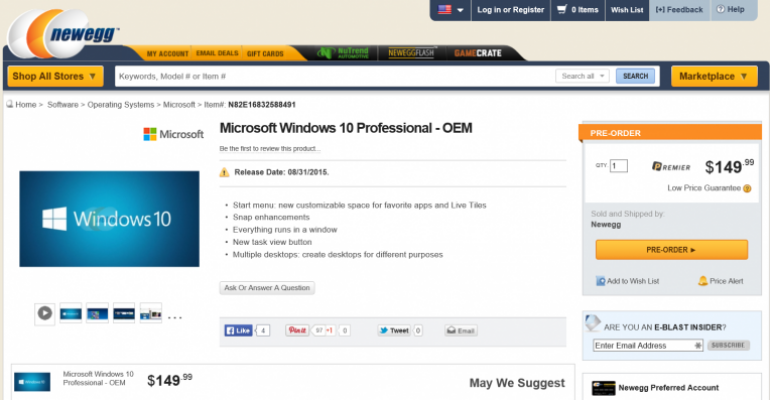 Did Newegg reveal the cost and release date of Windows 10 Professional?
