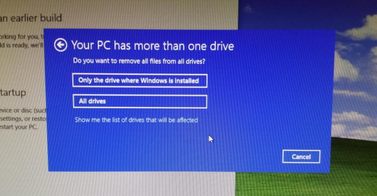 Windows 10 Reset gets verbose and risky in build 10130