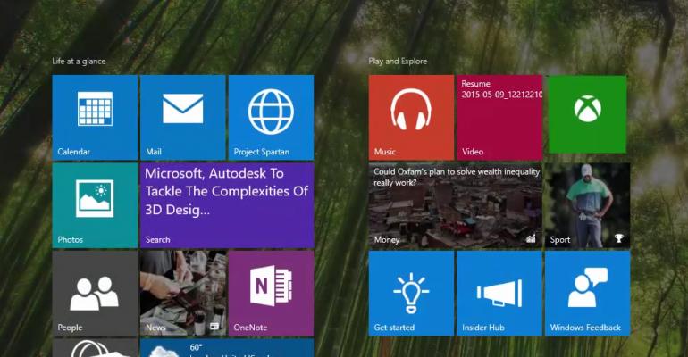 Windows 10 build 10114 shows off modified Start Menu/Screen