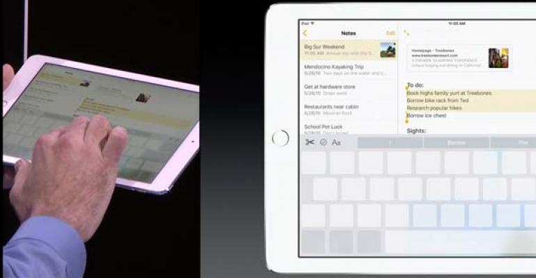 Apple39s Craig Federighi demonstrates the twofinger trackpad on the iPad keyboard under iOS 9