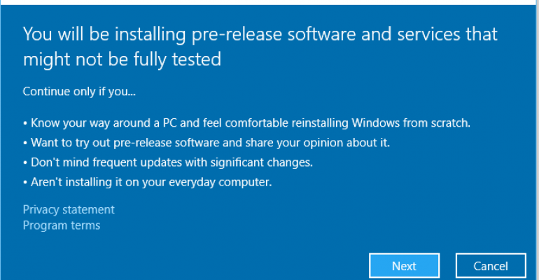 Enrolling in the Windows Insider Program post Windows 10 release