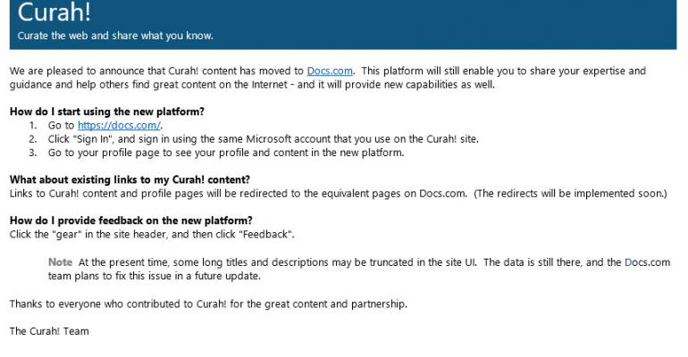 Curah! is Now Part of Docs.com