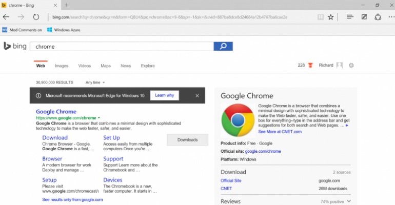 Microsoft Edge and Browser Search Results – Give me a Break!