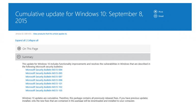 Windows 10 Cumulative Update 6 Contains 7 of Today's Patch Tuesday Updates