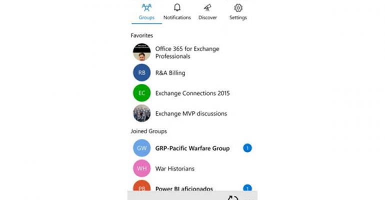 Outlook (Office 365) Groups app appears for mobile devices