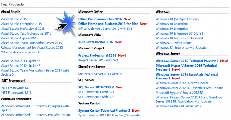 Office 2016 stand alone installers now available for MSDN Subscribers