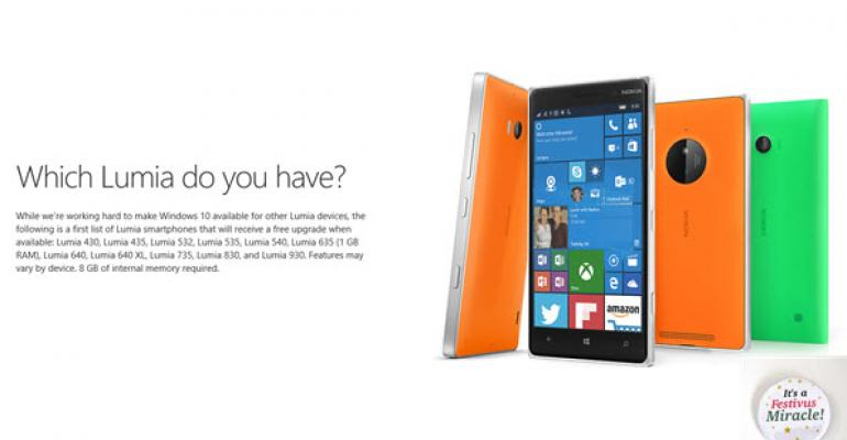 List of Lumias to Get Windows 10 Mobile First in December
