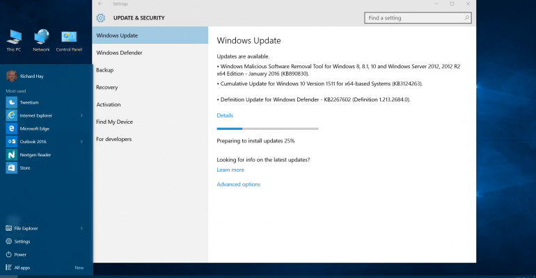 Windows 10 updated to Version 1511 (OS Build 10586.63)