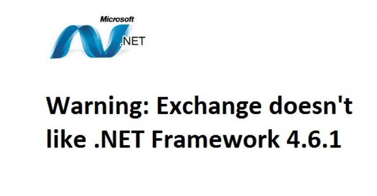 Exchange says no to .NET Framework 4.6.1