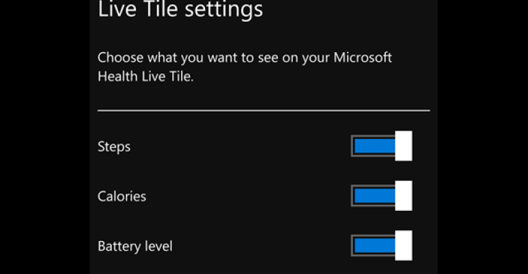 Minor New Microsoft Health Feature Allows Customizing of Live Tile