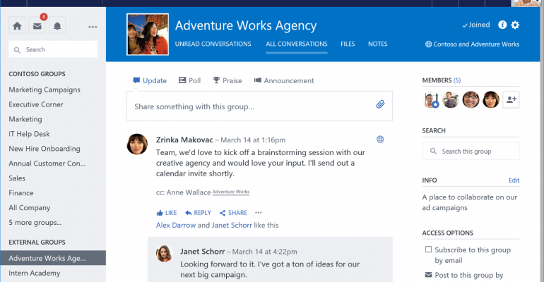 Yammer Introduces External Groups