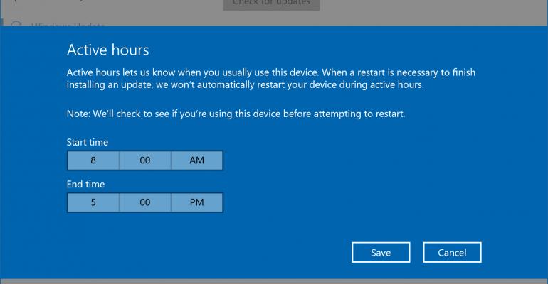 Windows Update Active Hours in the Windows 10 Anniversary Update