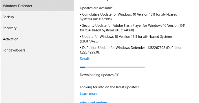 Windows 10 Version 1511 (Current Branch) Updated to Build 10586.494