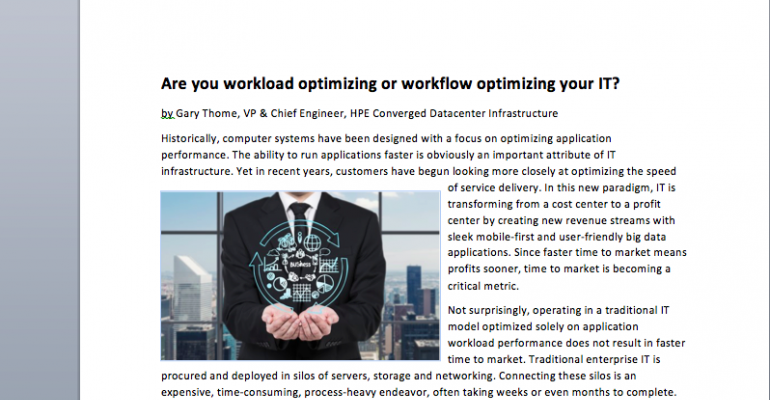 Are You 'Workload Optimizing' or 'Workflow Optimizing' Your IT?