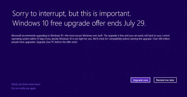 Microsoft Offers System Reminder About Windows 10 Free Upgrade Expiration (KB3173040)