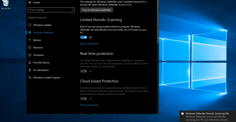 Security this feature will periodically scan your system for how to activate limited periodic scanning in the windows 10 anniversary update ccuart Gallery