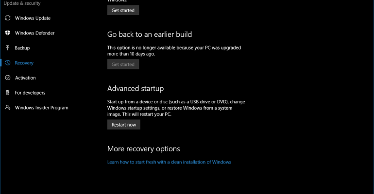 Microsoft Shortens Recovery Rollback Period to 10 Days in Windows 10 Anniversary Update