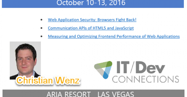 IT/Dev Connections 2016 Speaker Highlight: Christian Wenz