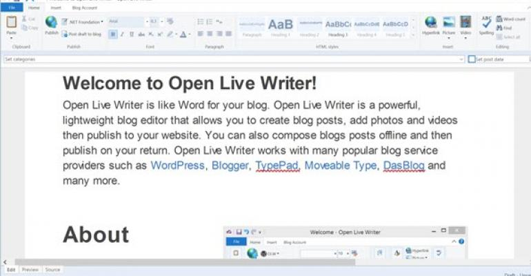 Microsoft LiveWriter released as Open Live Writer in the Windows Store