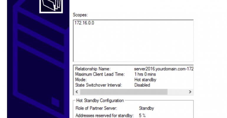 Configuring DHCP Failover in Windows Server 2016