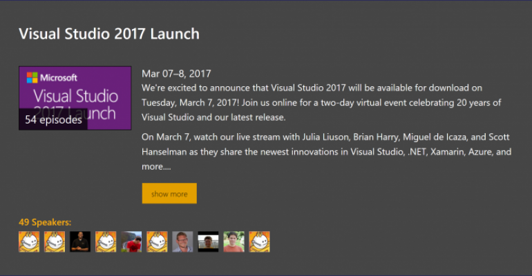 Visual Studio 2017 Launch Videos Now Available for On Demand Viewing
