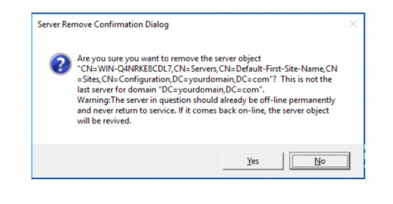 How to Remove Failed DCs from Active Directory Domain in Windows Server 2016