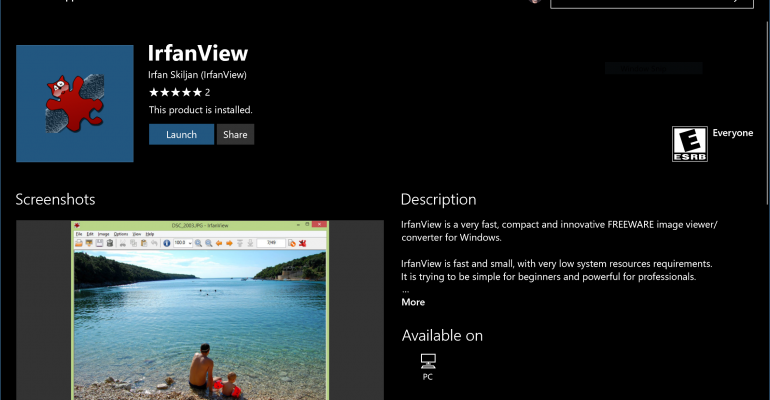 Irfanview Desktop Graphics Utility Now Available in Windows Store via Project Centennial