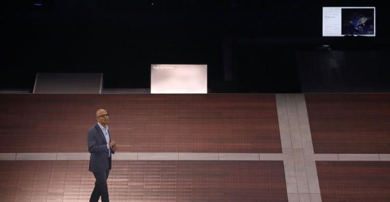 Microsoft CEO Satya Nadella gives the 39Vision Keynote39 speech during a Microsoft Inspire event at the Verizon Center on July 10 2017 in Washington DC