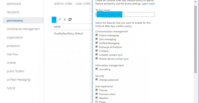 How to Configure an Outlook Web App Policies in Office 365