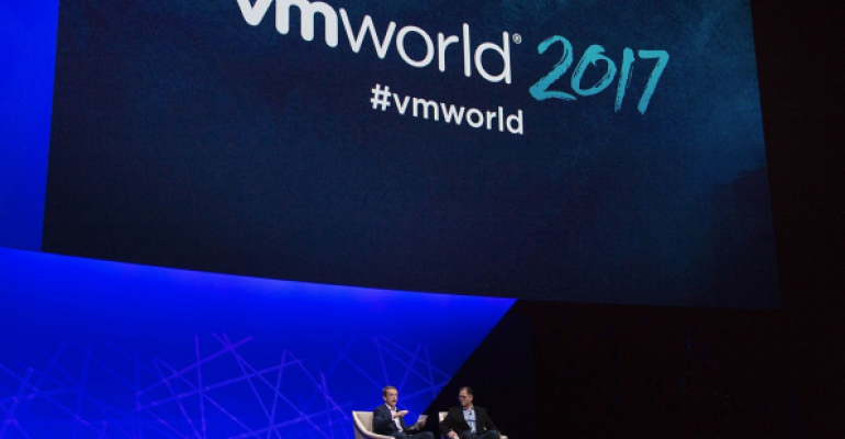 VMware CEO Pat Gelsinger and Michael Dell on stage at VMworld 2017