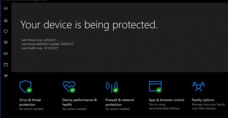 Windows Defender Security Center Screenshot