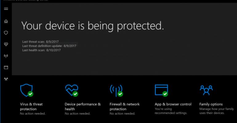 Windows Defender Security Center Screenshot