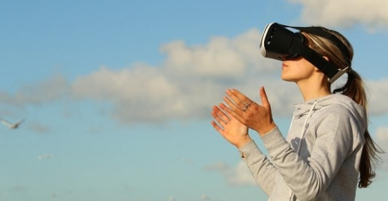 Woman wearing VR headset with cloud background